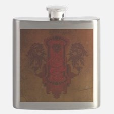 Chinese draon on button in red colors Flask