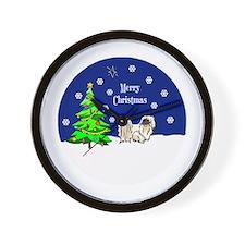 Pekingese Merry Christmas Wall Clock