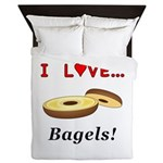 I Love Bagels Queen Duvet