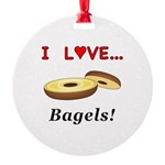 I Love Bagels Round Ornament