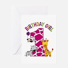 Girl Jungle 1st Birthday Greeting Cards