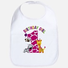 Girl Jungle 1st Birthday Baby Bib