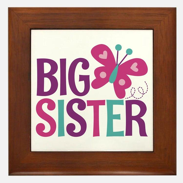 Butterfly Big Sister Framed Tile