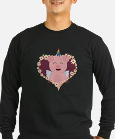 Unicorn Pig in flower heart Long Sleeve T-Shirt