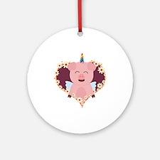 Unicorn Pig in flower heart Round Ornament