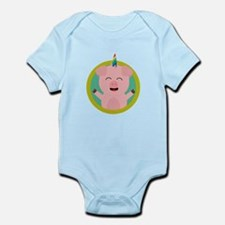 Unicorn Pig in green circle Body Suit
