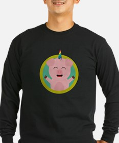 Unicorn Pig in green circle Long Sleeve T-Shirt
