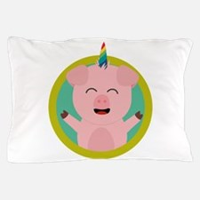 Unicorn Pig in green circle Pillow Case