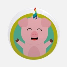 Unicorn Pig in green circle Round Ornament