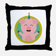 Unicorn Pig in green circle Throw Pillow