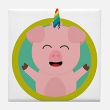 Unicorn Pig in green circle Tile Coaster