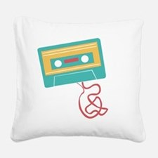Cute Teal and pink ribbon Square Canvas Pillow