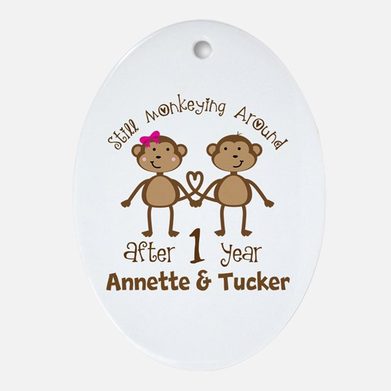 Funny 1st Anniversary Personalized Oval Ornament