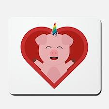 Unicorn Pig in Heart Mousepad