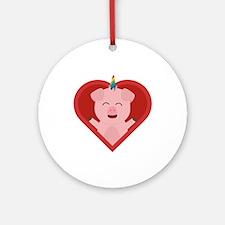 Unicorn Pig in Heart Round Ornament
