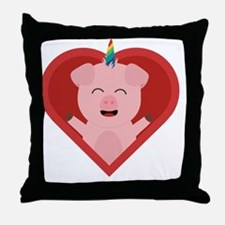 Unicorn Pig in Heart Throw Pillow