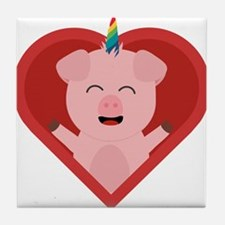 Unicorn Pig in Heart Tile Coaster