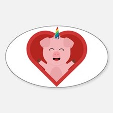 Unicorn Pig in Heart Decal