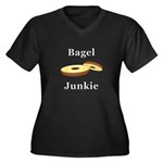 Bagel Junkie Women's Plus Size V-Neck Dark T-Shirt
