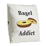 Bagel Addict Burlap Throw Pillow