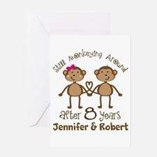 Funny 8th Anniversary Personalized Greeting Cards