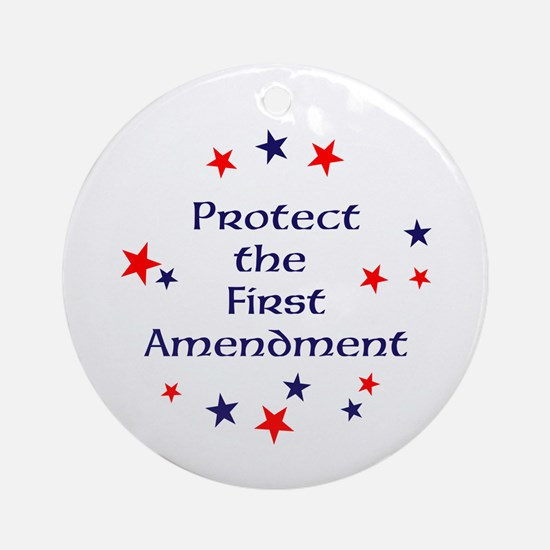 Protect the First Amendment Round Ornament