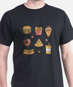 Cute Happy Junk Food Doodles T-Shirt