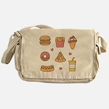 Cute Happy Junk Food Doodles Messenger Bag
