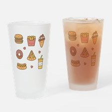 Cute Happy Junk Food Doodles Drinking Glass