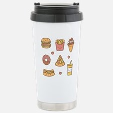 Cute Happy Junk Food Doodles Travel Mug