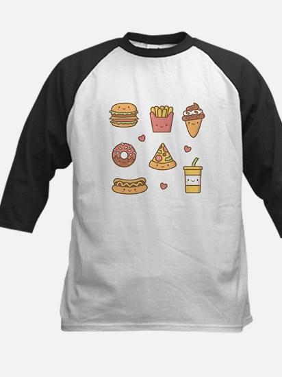 Cute Happy Junk Food Doodles Baseball Jersey