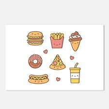 Cute Happy Junk Food Doodles Postcards (Package of