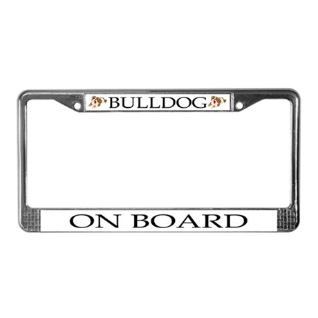 Cartoon Bulldog License Plate Frame