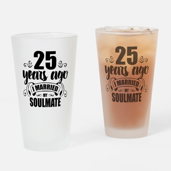 25th Anniversary Drinking Glass