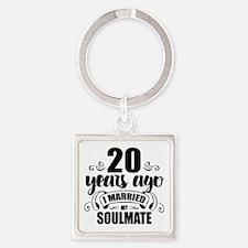 20th Anniversary Square Keychain