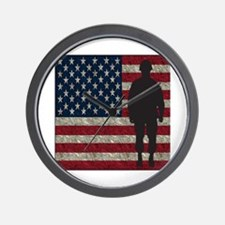Usflag Soldier Wall Clock