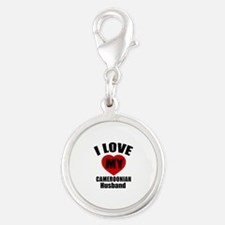 I Love My Cameroonian Husband Silver Round Charm