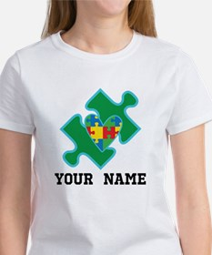 Autism Puzzle Piece Heart Personalized T-Shirt