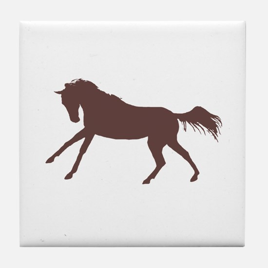 brown galloping horse Tile Coaster