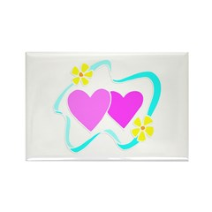 Hearts and Flowers Rectangle Magnet (10 pack)
