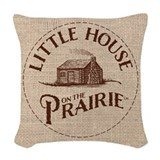 Little house on the prairie Woven Pillows