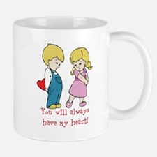 Boy and Girl Valentines Heart Message Design Mugs