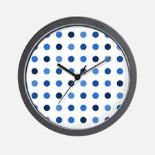 Blue, Tricolor: Polka Dots Pattern (Med Wall Clock