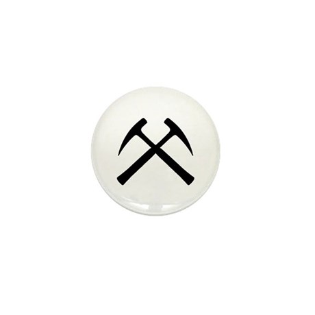 Crossed Rock Hammers Mini Button
