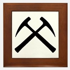 Crossed Rock Hammers Framed Tile