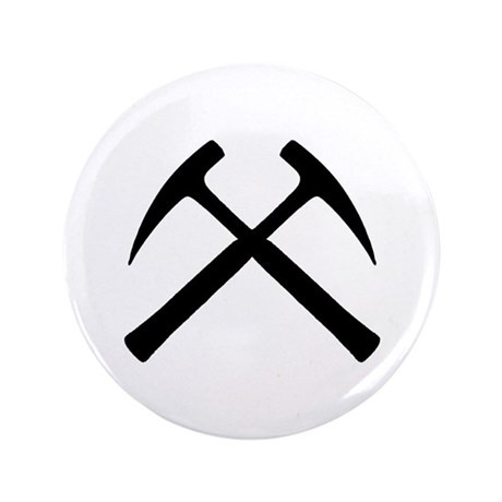 """Crossed Rock Hammers 3.5"""" Button"""