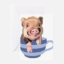 Teacup Pig Greeting Cards