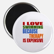 """I Love Swimming Because The 2.25"""" Magnet (10 pack)"""