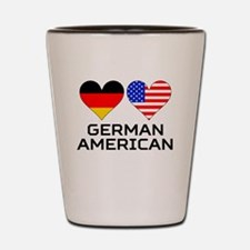 German American Hearts Shot Glass
