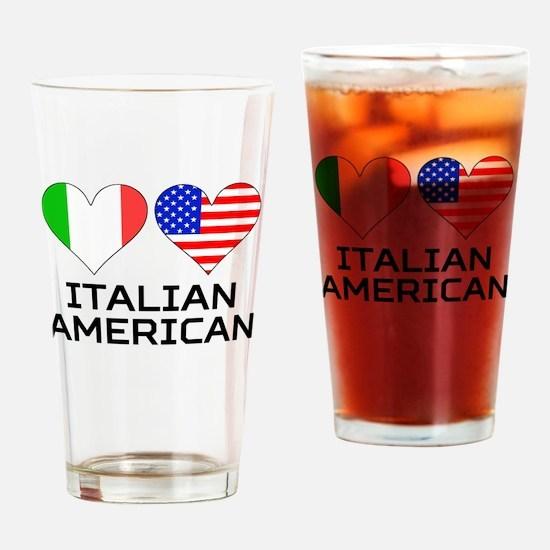 Italian American Hearts Drinking Glass